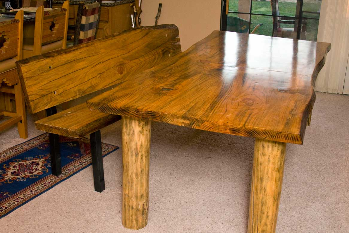 Douglas Fir Dining Table With Turquoise Inlay And Bench