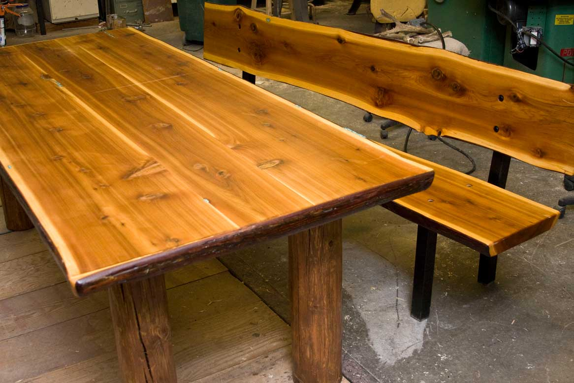 Western Cedar Dining table with Turquoise inlay and Bench - measures 42x96