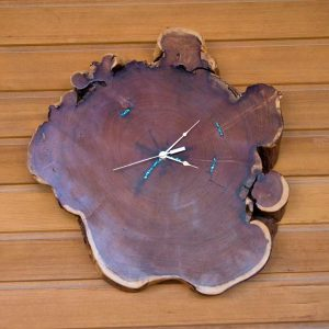 Arizona Mesquite Wall Clock with Turqoise Inlay