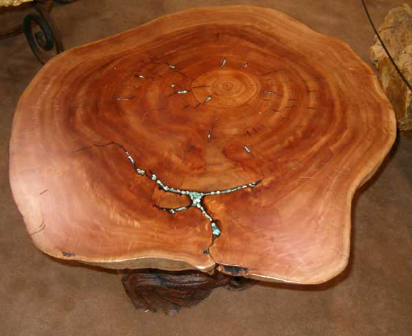 Eucalyptus End Table With Redwood Base   Small