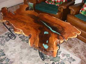 Mesquite Coffee Table Large With Turquoise Inlay