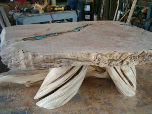 Myrtle coffee table -raw-with-turquoise-side-view