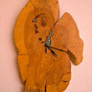 Nevada Cedar Wall Clock withTurqoise Inlay