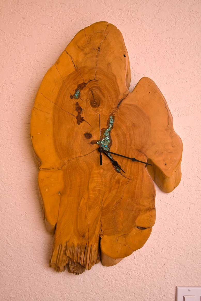 Nevada Cedar Wall Clock withTurqoise Inlay