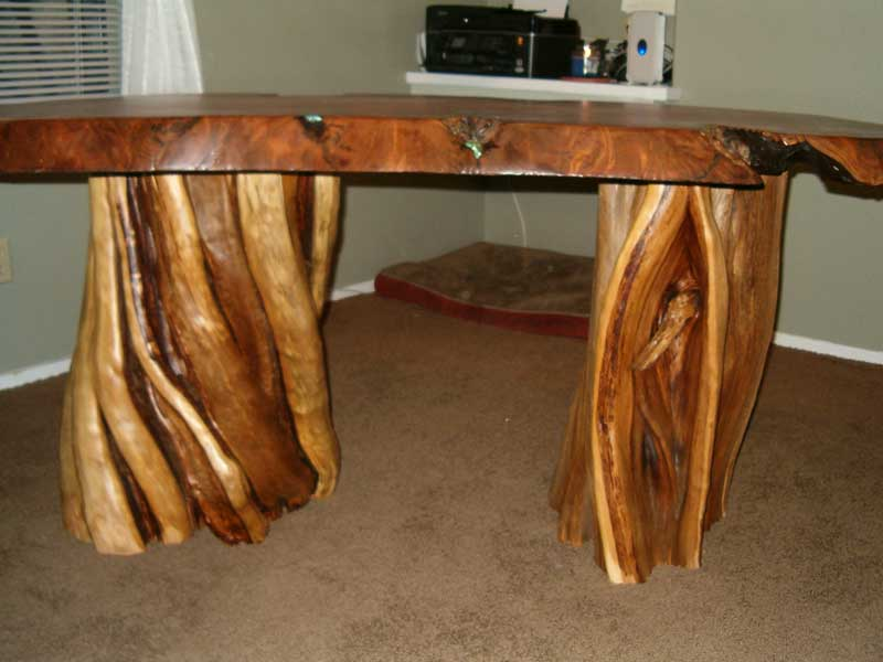 Redwood Desk With Alligator Juniper Base