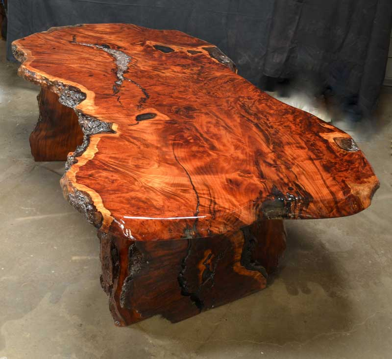 Charmant Redwood Desk Table Top View