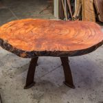 Gorgeous Redwood Coffee Table With Turquoise Inlay.
