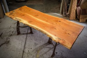 Handcrafted Honey Locust Dining Table With Turquoise Inlay Roximate Size Is 46 X 96 Base Changeable